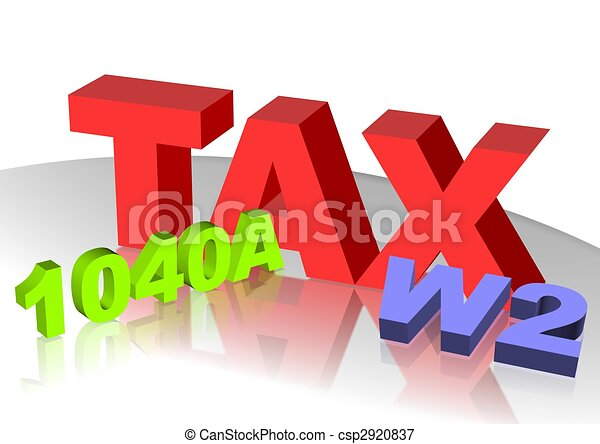 Tax Icon 3d Text Of Tax W2 And 1040a