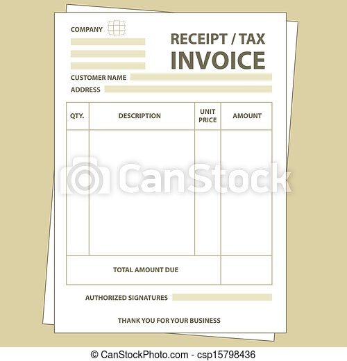 Tax invoice. Illustration of unfill paper tax invoice form.