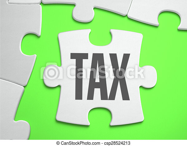 Tax - Jigsaw Puzzle with Missing Pieces. - csp28524213