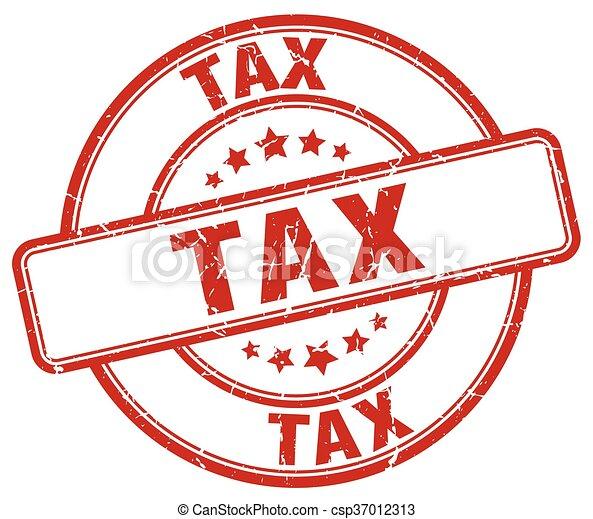 tax red grunge round vintage rubber stamp - csp37012313