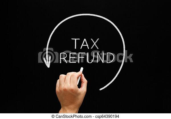 Tax Refund Arrow Concept On Blackboard - csp64390194