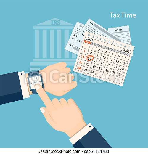 tax time with showing finger at the watch csp61134788