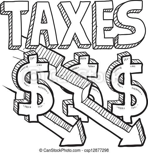 Taxes decreasing sketch. Doodle style tax decrease ...