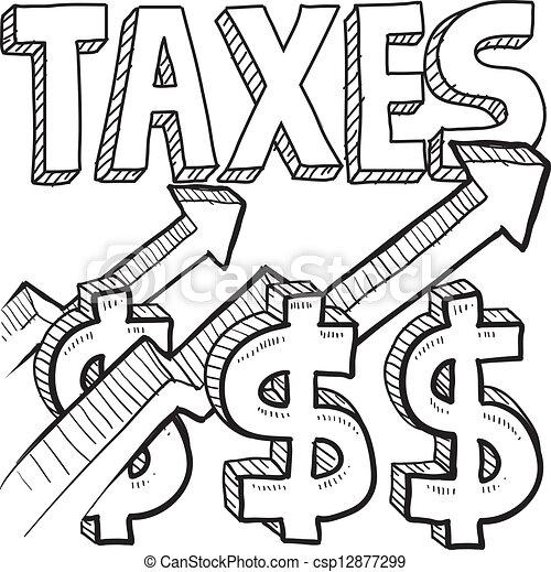 Taxes increasing sketch - csp12877299