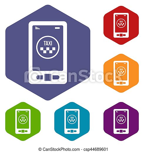 Taxi app in phone icons set - csp44689601