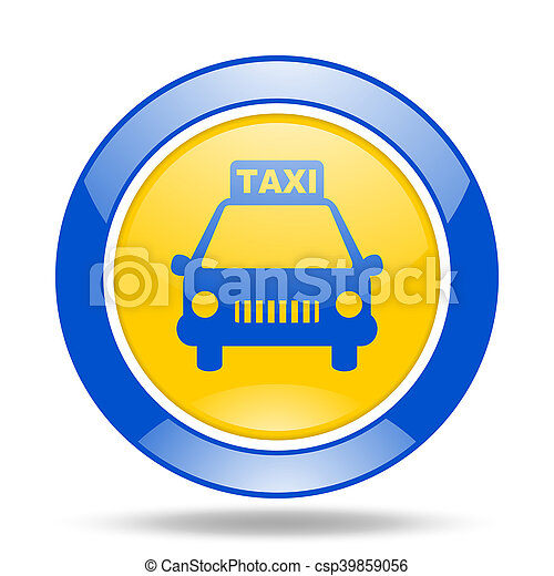taxi blue and yellow web glossy round icon - csp39859056