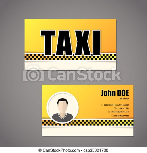 Taxi Business Card Template With Driver Photo Taxi Business Card