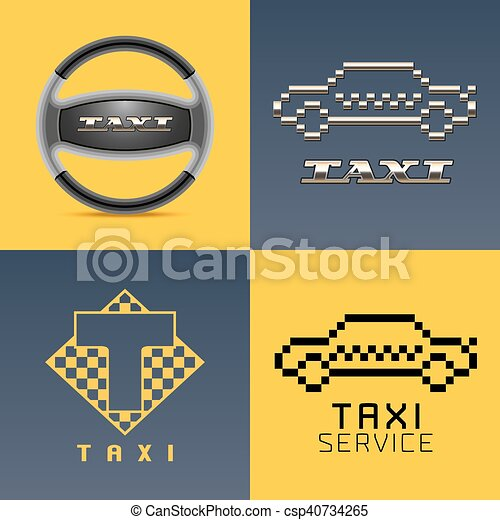Taxi, cab, car hire set of vector logo, icon, app emblem, symbol