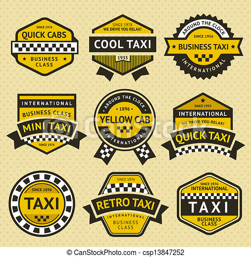 Taxi cab set insignia, vintage style - csp13847252
