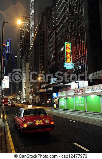 Taxi cabs in Hong Kong, China - csp12477973