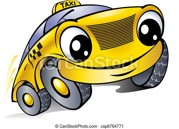 Un auto con cara de risa. Taxi. - csp6764771