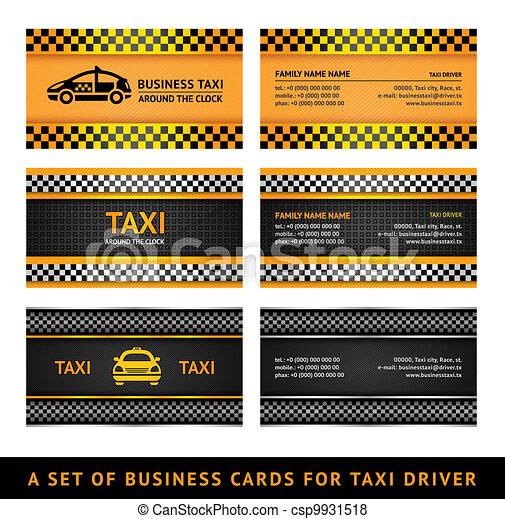 Taxi, conjunto, empresa / negocio, -, segundo, tarjeta. Taxi ...