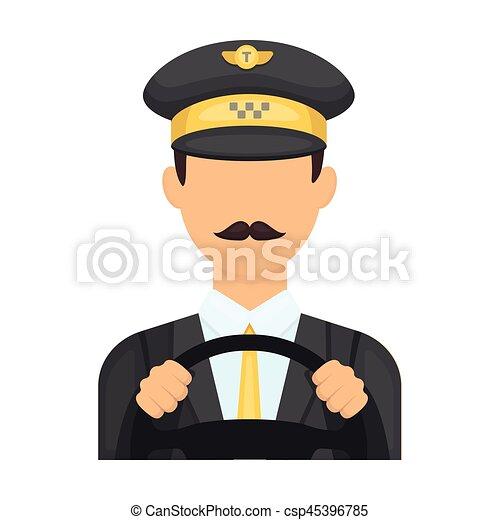Taxi driver wearing a cap. man is driving a taxi car. taxi ...