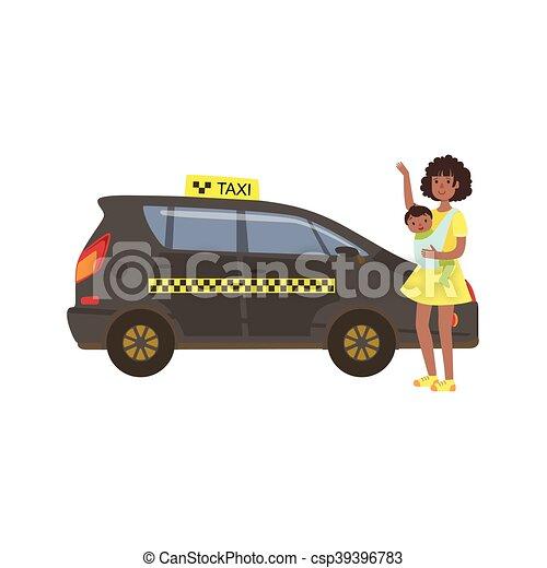 taxi, femme, voiture, appeler, noir, bébé - csp39396783