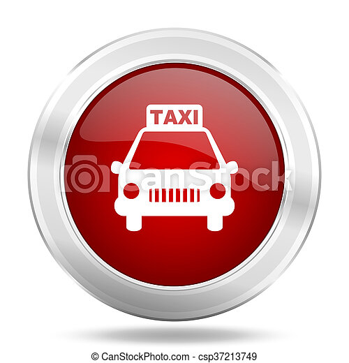 taxi icon, red round glossy metallic button, web and mobile app design illustration - csp37213749