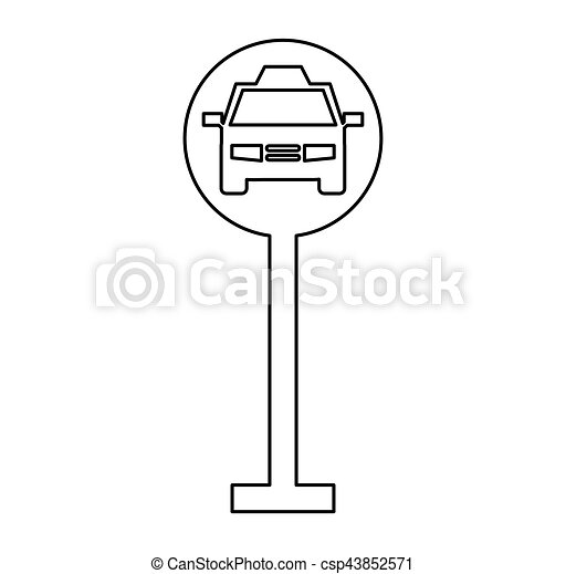 taxi parking zone sign isolated icon - csp43852571