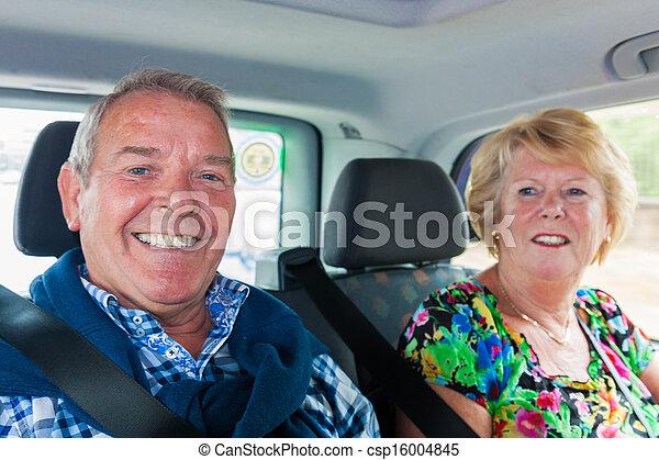 taxi, passagers, personne agee, mari, épouse - csp16004845