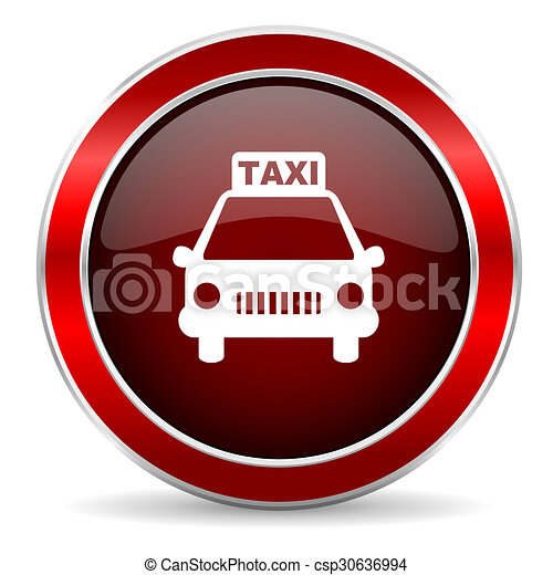 taxi red circle glossy web icon, round button with metallic border - csp30636994