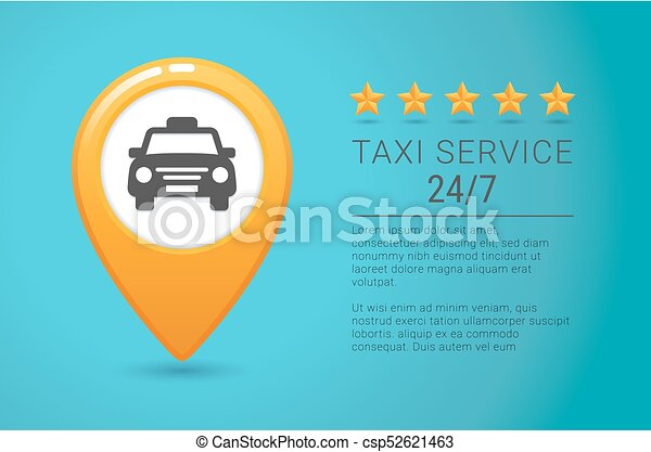 taxi service banner yellow taxi icon yellow map pin with taxi car
