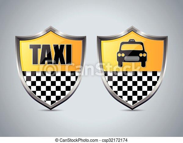 Taxi shield badge design set - csp32172174