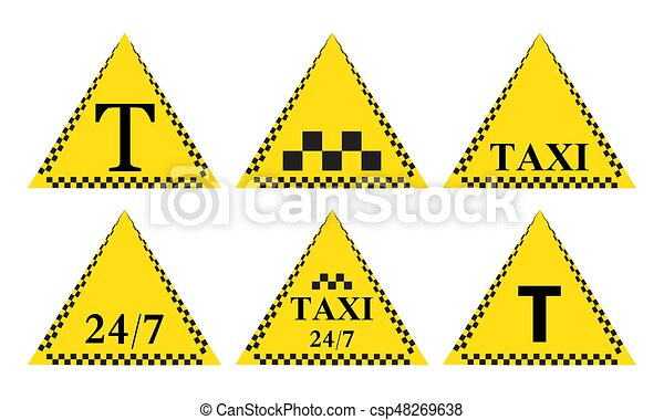 Taxi stylish set of stickers, logos and icons - csp48269638