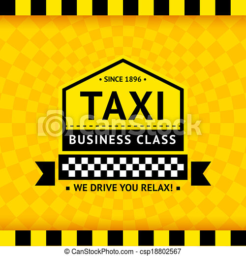 Taxi symbol with checkered background - 06 - csp18802567