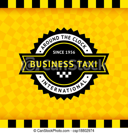 Taxi symbol with checkered background - 10 - csp18802974