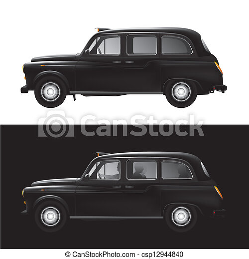 taxi symbole londres taxi noir d taill vecteur isol illustration. Black Bedroom Furniture Sets. Home Design Ideas