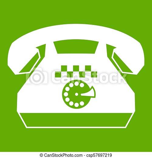 taxi, téléphone, vert, icône - csp57697219
