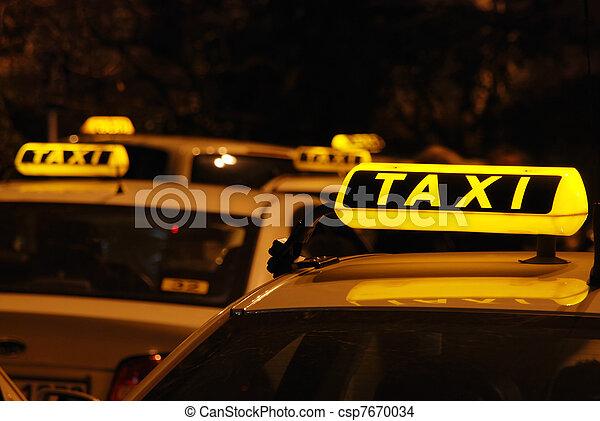 taxifahrzeuge, s, linie, warten - csp7670034