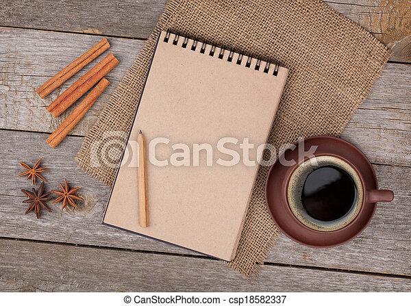 tazza caffè, legno, blocco note, vuoto, tavola, spezie - csp18582337