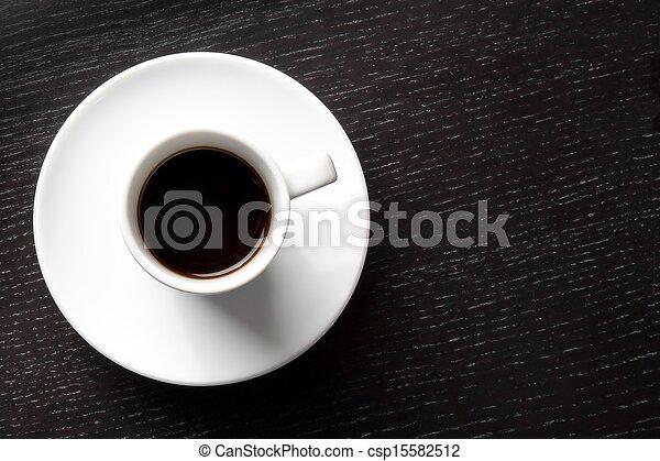 tazza caffè, testo, spazio, nero, bianco - csp15582512