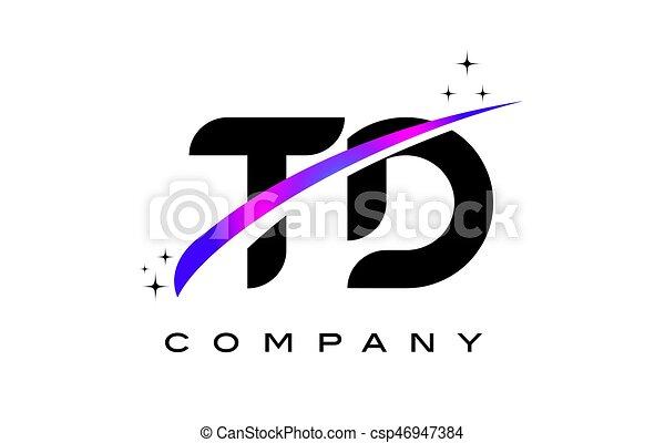 Td T D Black Letter Logo Design With Purple Magenta Swoosh And Stars