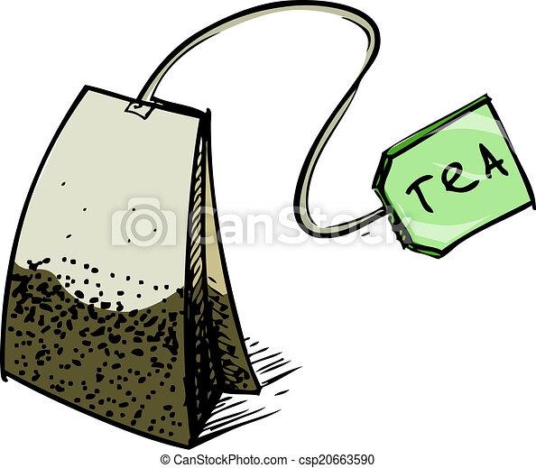 Tea bag with label - csp20663590