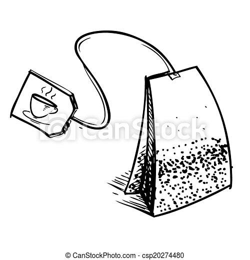 Tea bag with label - csp20274480