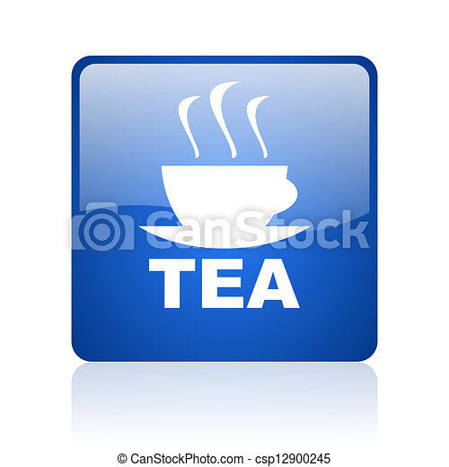 tea blue square glossy web icon on white background - csp12900245