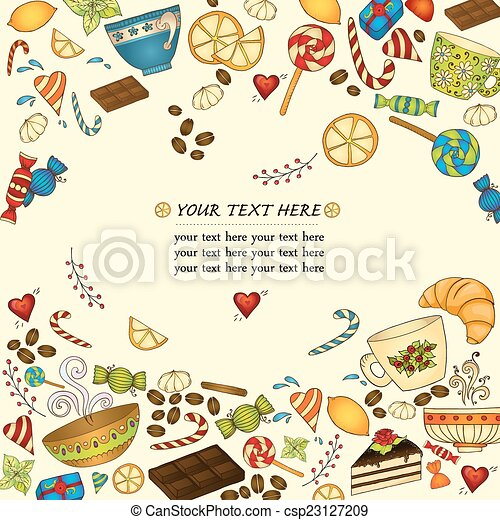 tea coffee and sweets doodle template pattern tea coffe and