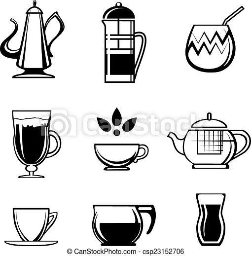 Tea Coffee or Chocolate Drink Icons - csp23152706