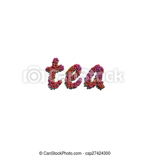 tea create by red color flowers white background - csp27424300