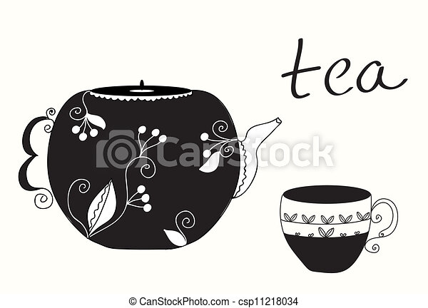 Tea cup and teapot menu background - csp11218034