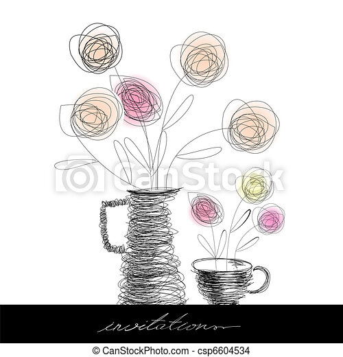 Tea cup and teapot with flowers - csp6604534