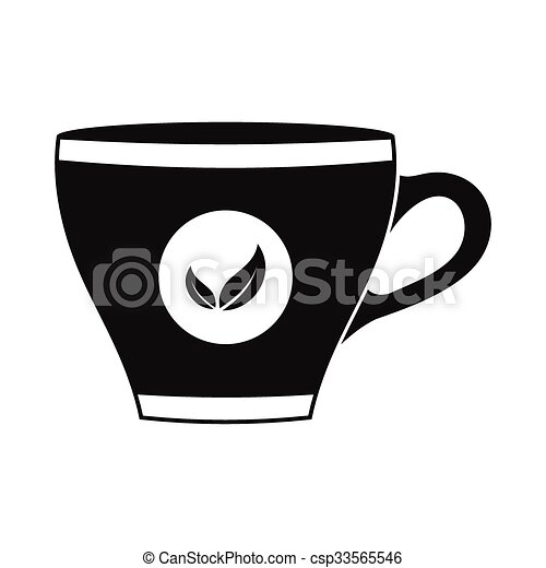 Tea cup black simple icon isolated on white background eps vector ...