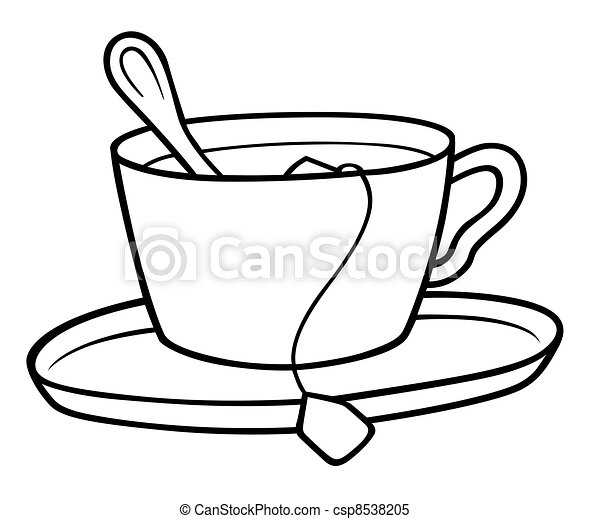 Tea cup - black and white cartoon illustration, vector.
