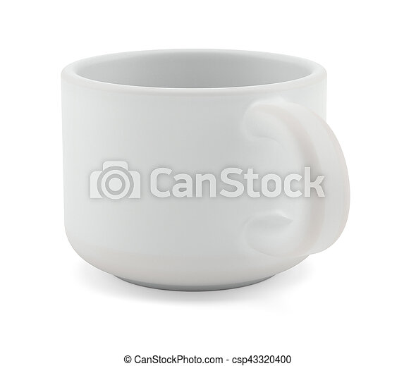 Tea cup isolated on white front view - csp43320400