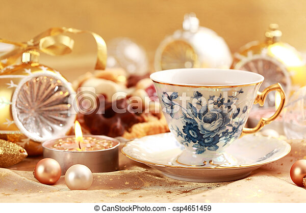 Tea for Christmas with sweet cookies - csp4651459
