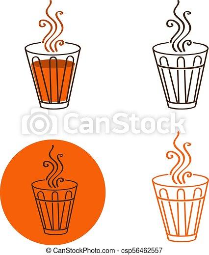 tea glass logo or emblem set illustration of tea glass logo or
