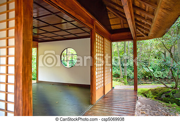 Tea house in Japanese park - csp5069938