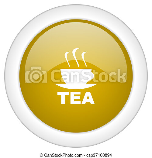tea icon, golden round glossy button, web and mobile app design illustration - csp37100894