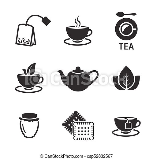 tea icons set black on a white background https www canstockphoto com tea icons 52832567 html