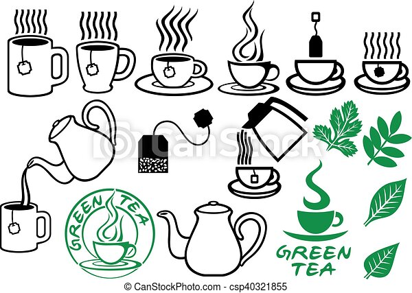 tea icons set - csp40321855